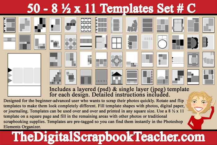 8 X 11 Inch Scrapbook Page Templates 50 Cd C The Digital Scrapbook Teacher