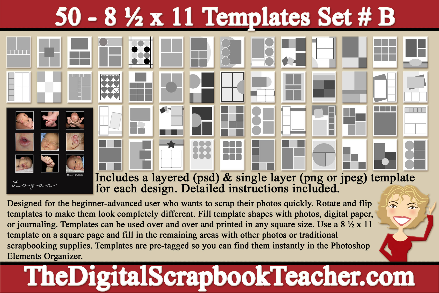 8 X 11 Inch Scrapbook Page Templates 50 Cd B The Digital Scrapbook Teacher